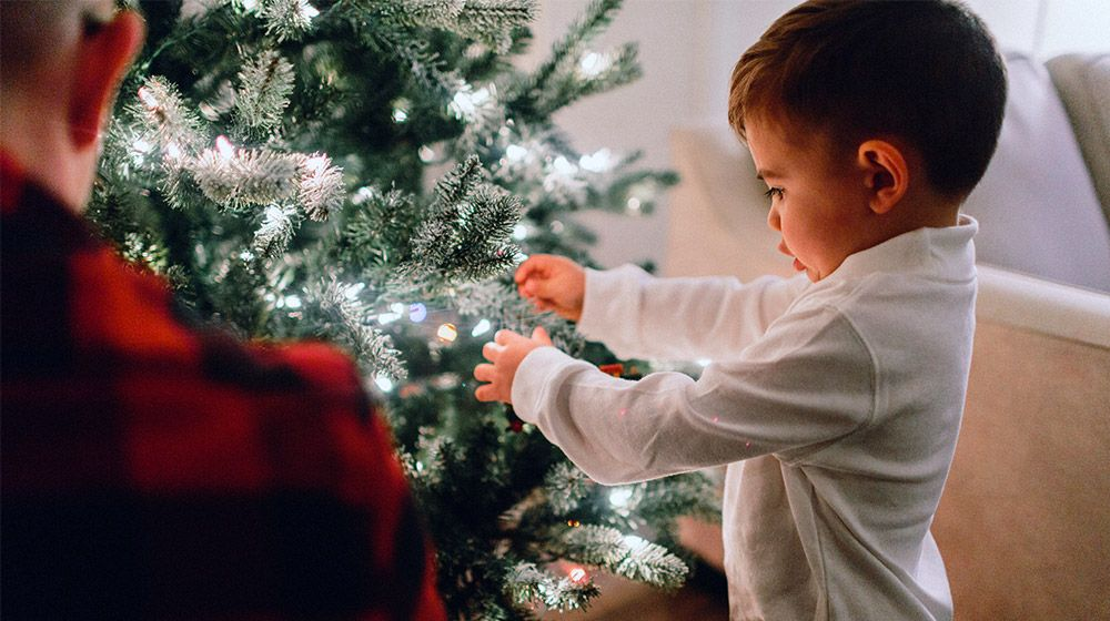 A boy decorating a tree for the holidays
