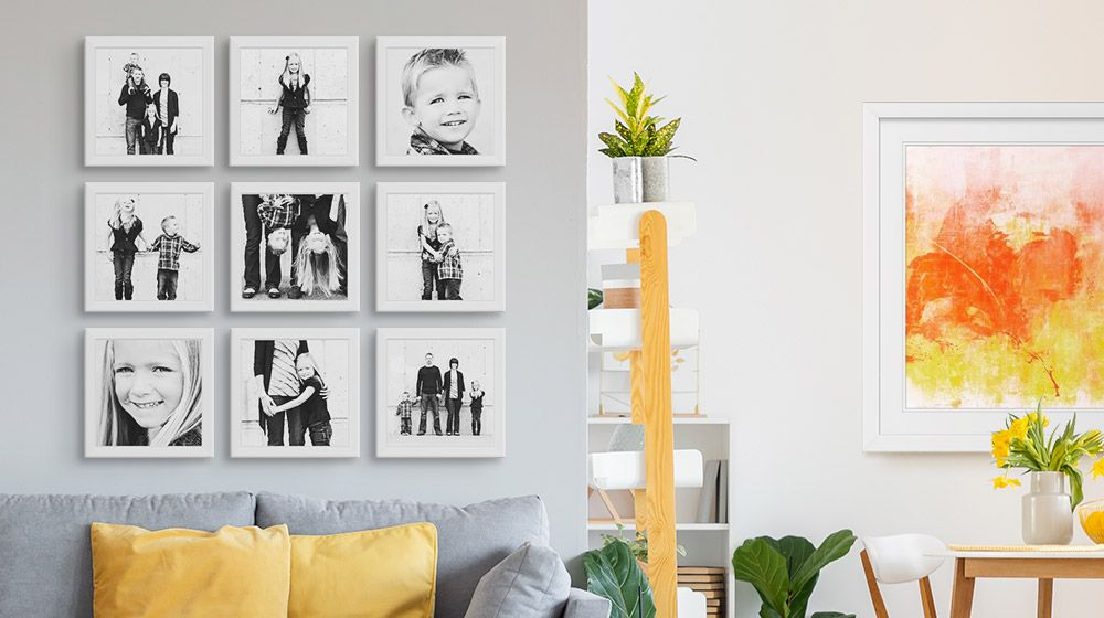 a grid of black and white family photos