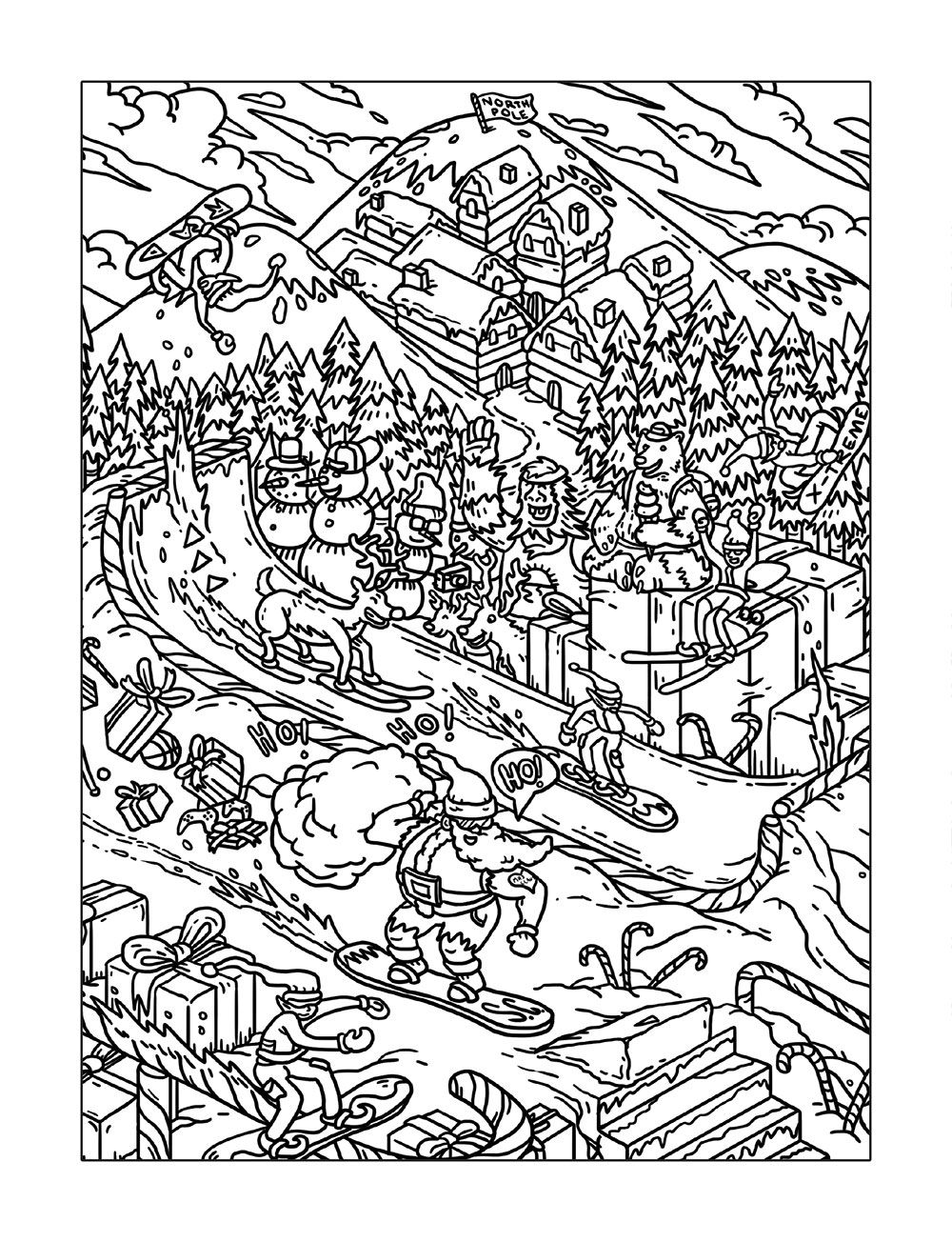 free printable coloring page depicting Santa on a snowboard