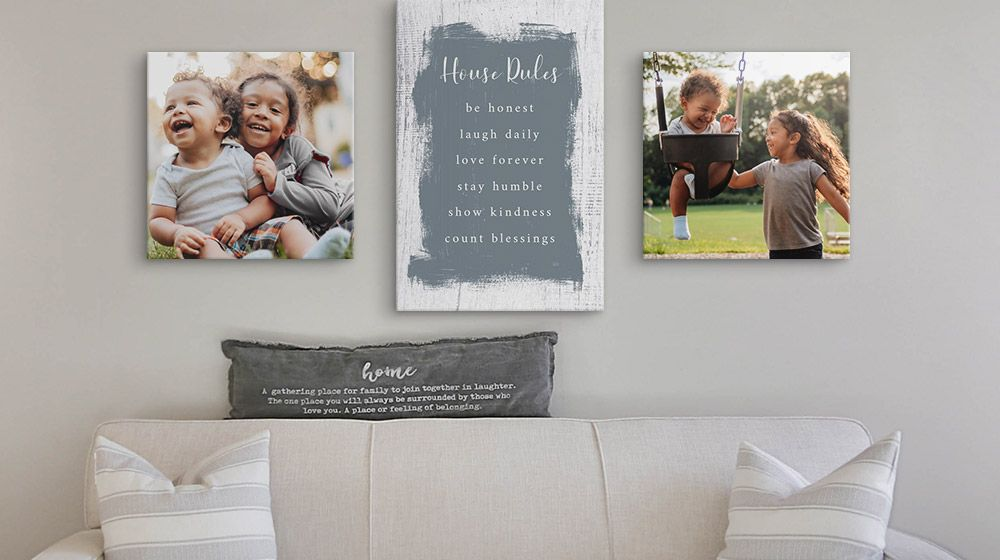 Custom Family rules printed on a canvas print alongside photos of children
