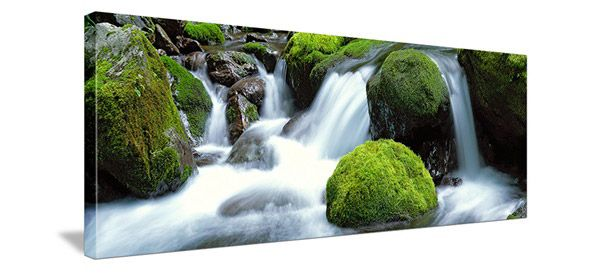 horizontal shaped canvas of waterfall and moss covered rocks