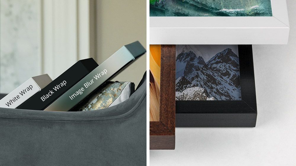 an image of different canvas wrap options next to an image of white, walnut, and black framed canvases