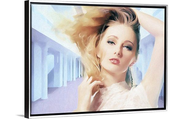 vintage painting of closeup of woman with blonde hair