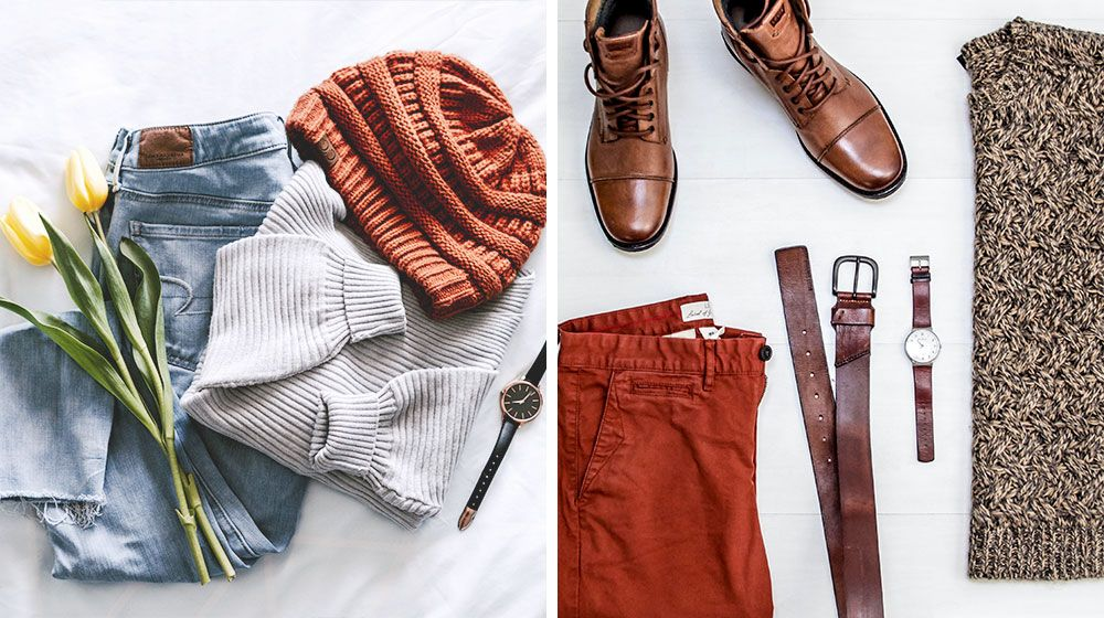 Fashionable array of men's and women's clothing including sweaters, jeans, and accessories